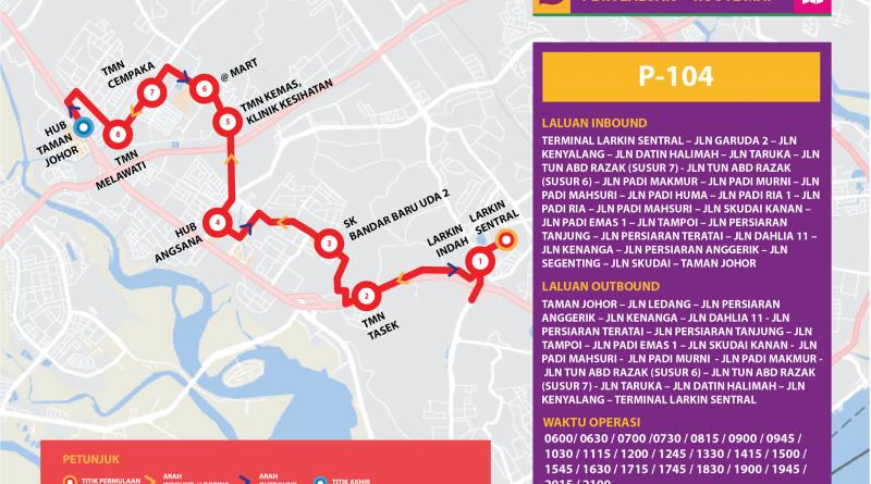 Bas Muafakat Johor P104 - Route Map