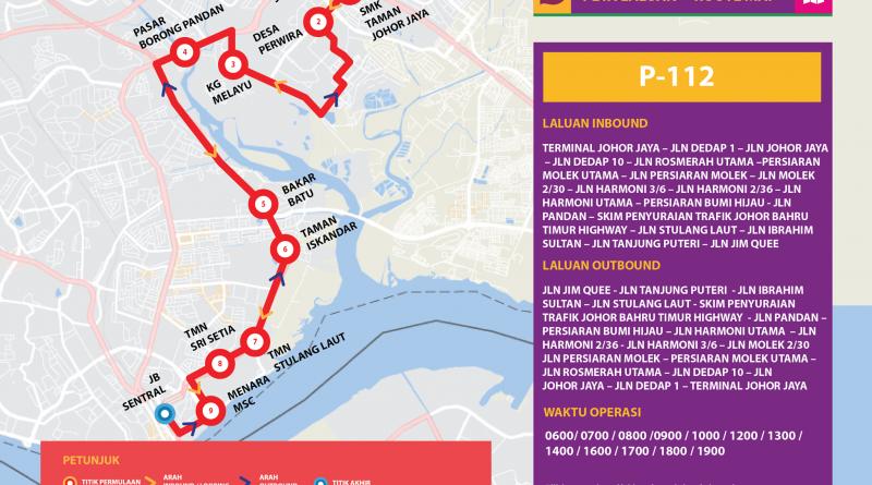 Bas Muafakat Johor P112 - Route Map