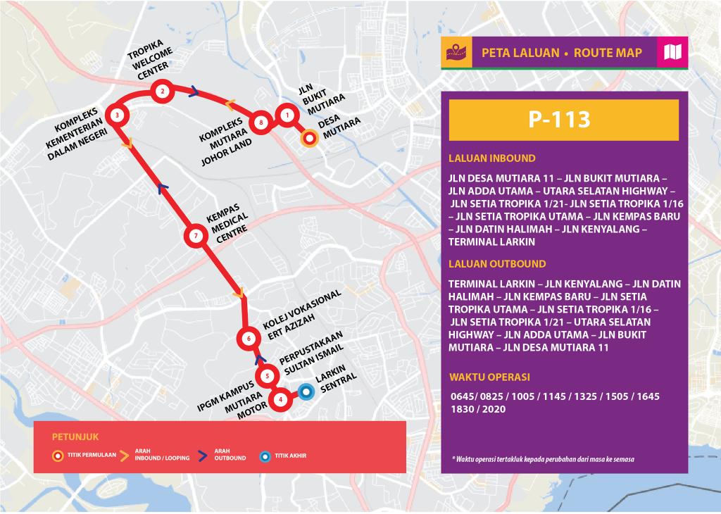 Bas Muafakat Johor P113 - Route Map