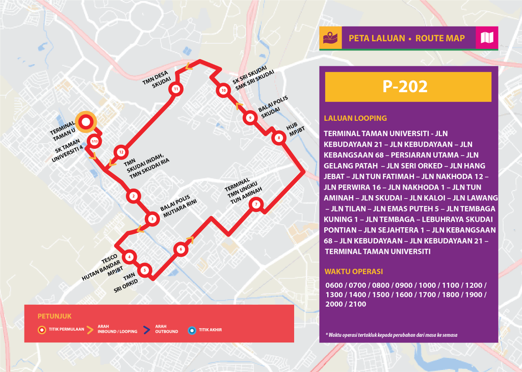 Bas Muafakat Johor P202 - Route Map