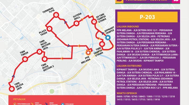 Bas Muafakat Johor P203 - Route Map