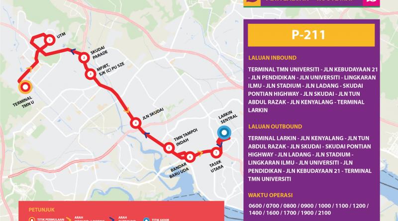 Bas Muafakat Johor P211 - Route Map