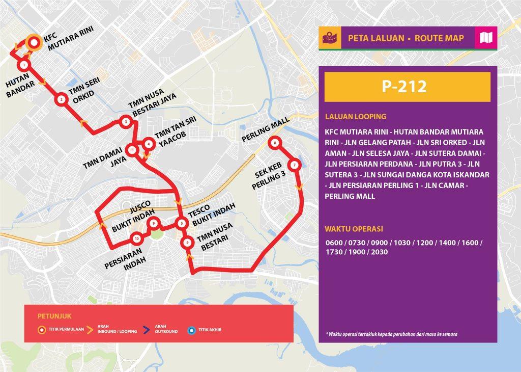 Bas Muafakat Johor P212 - Route Map