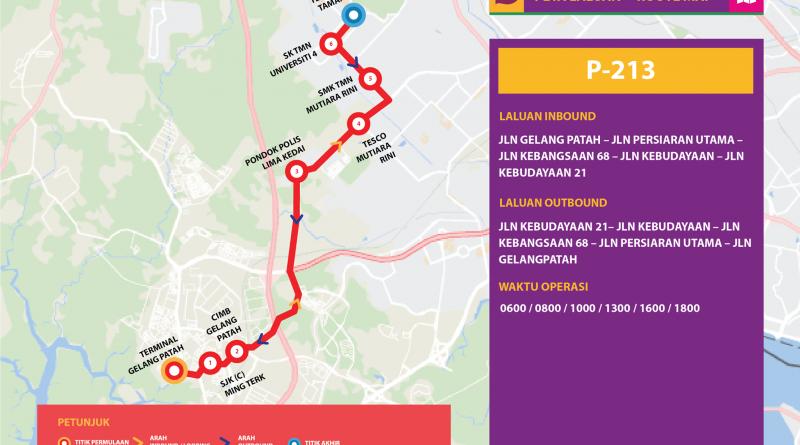 Bas Muafakat Johor P213 - Route Map