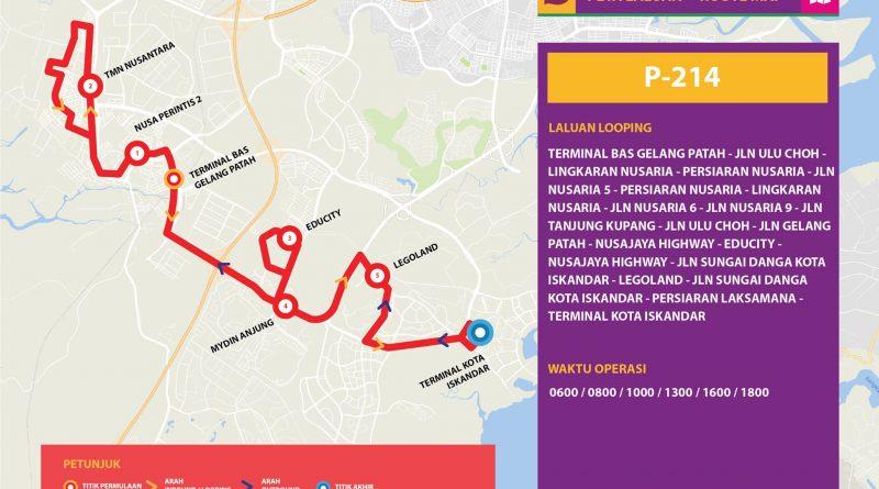Bas Muafakat Johor P214 - Route Map