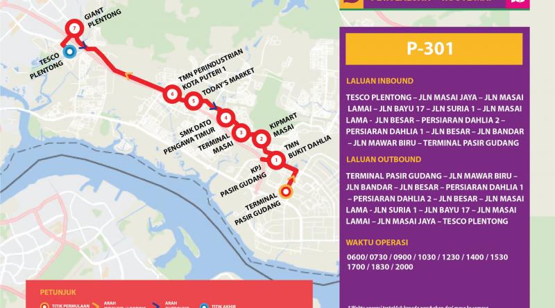 Bas Muafakat Johor P301 - Route Map