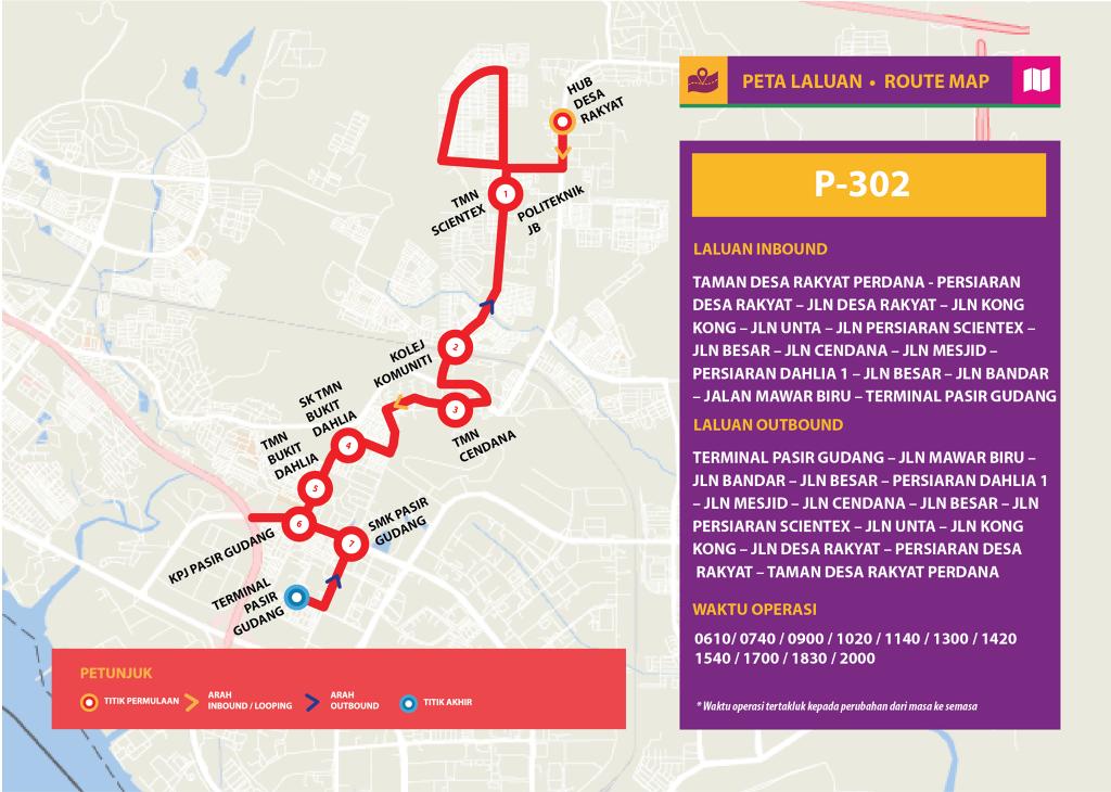 Bas Muafakat Johor P302 - Route Map