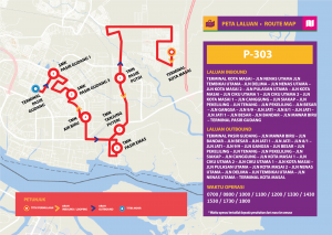 Bas Muafakat Johor P303 - Route Map