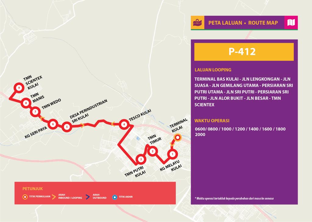 Bas Muafakat Johor P412- Route Map