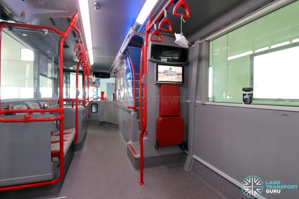 ADL E500 3-Door Concept Bus - Wheelchair bay with condensate pipe along the wall