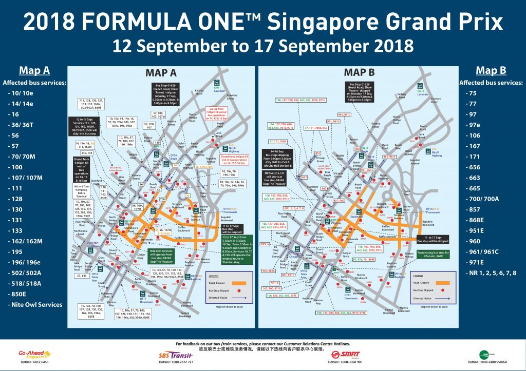 Formula 1 2018 Singapore Grand Prix – Bus Diversions and Public ...