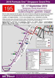 SBS Transit Poster for 2018 Formula 1 Singapore Grand Prix (Service 195 to Kampong Bahru Terminal)