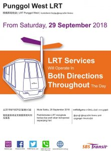SBS Transit Poster for Bi-Directional Punggol West LRT Service