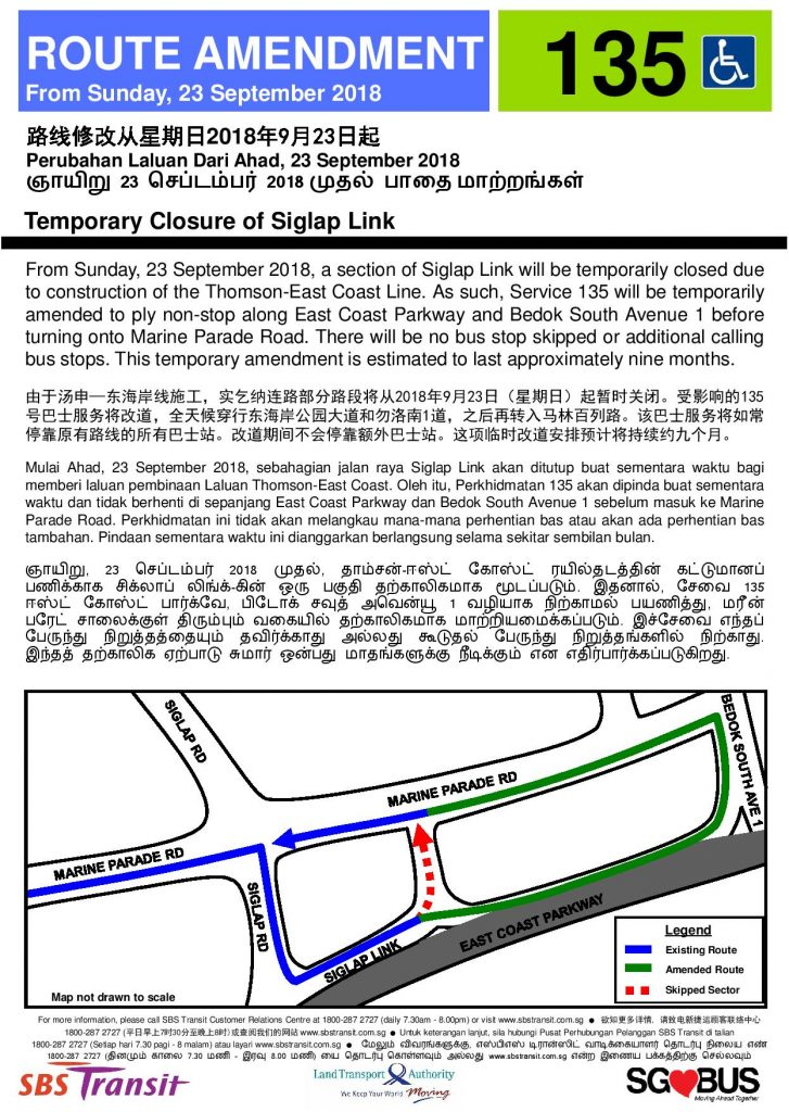 SBS Transit Poster for Service 135 - Temporary Closure of Siglap Link