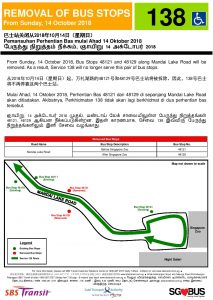 Removal of Bus Stops along Mandai Lake Road for Bus Services 138 & 138A