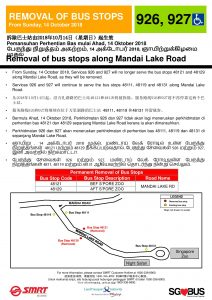 Removal of Bus Stops along Mandai Lake Road for Bus Services 926 & 927