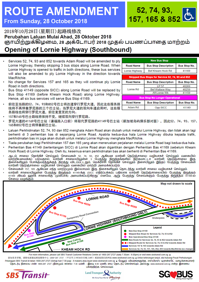 Opening of Lornie Highway (Southbound) - SBS Transit Poster for Bus Services 52, 74, 93, 157, 165 & 852
