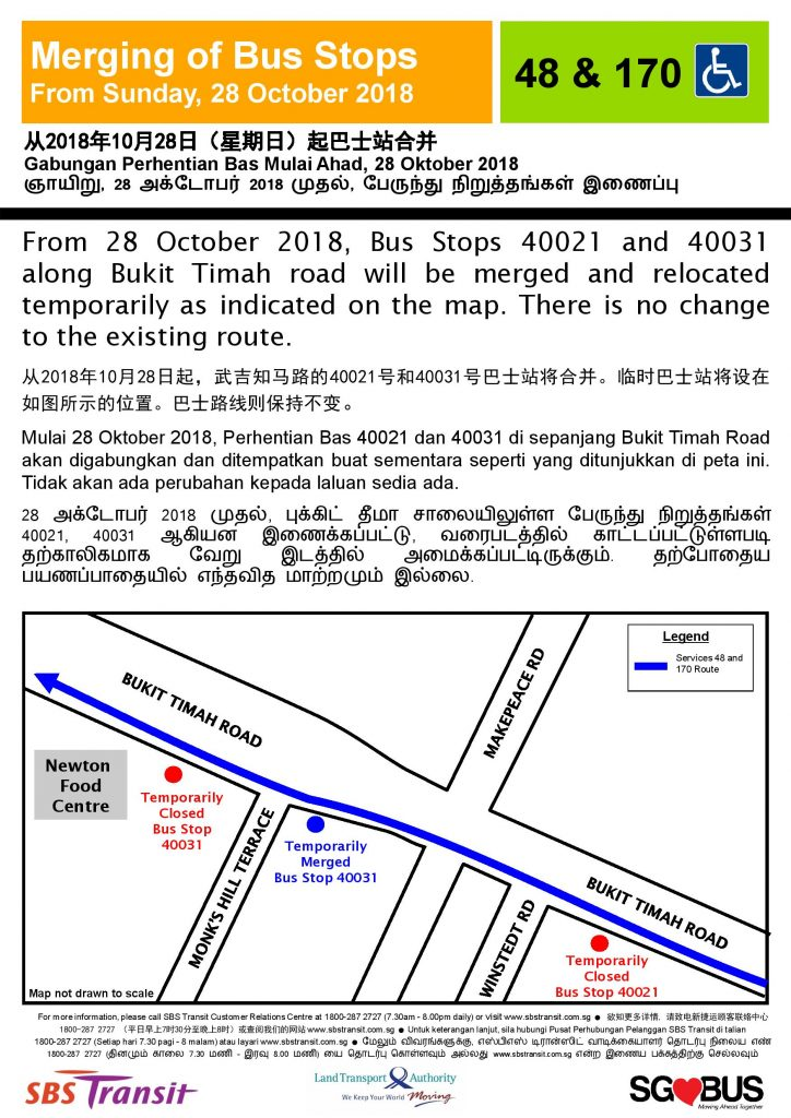 Temporary Co-sharing of Bus Stops along Bukit Timah Rd (SBS Transit Services 48 & 170)