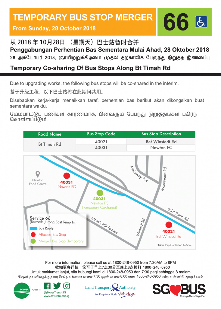 Temporary Co-sharing of Bus Stops along Bukit Timah Rd (Tower Transit Service 66)