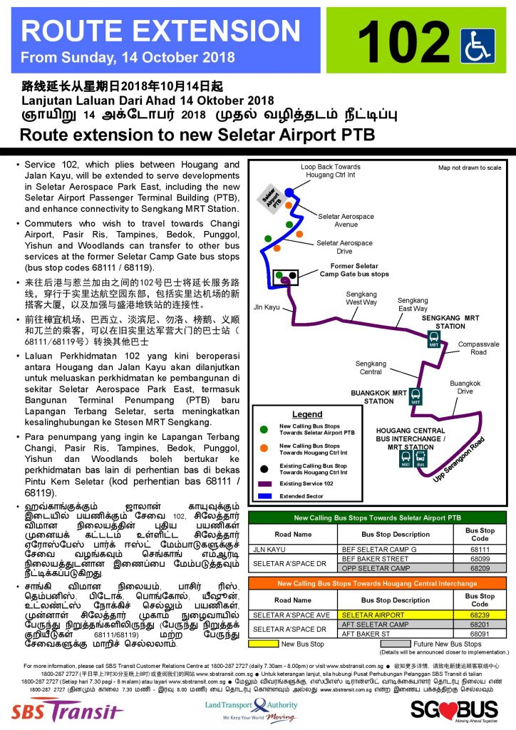 Route Extension to new Seletar Airport Public Terminal Building for Service 102 (Updated Poster)