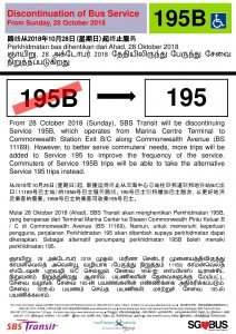 Discontinuation of Short Trip Bus Service 195B Poster (Updated Malay Translation)