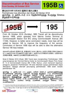 Discontinuation of Short Trip Bus Service 195B Poster (Original Poster)