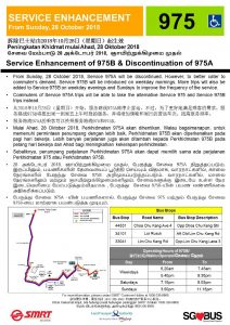 SMRT Buses Poster for Withdrawal of Service 975A & Enhancement of Service 975B