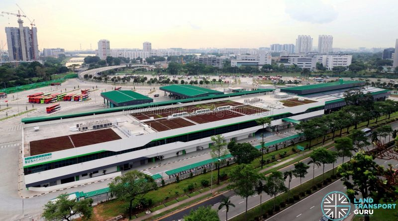 Ulu Pandan Bus Depot - Overhead with Solar Panels & Green Roof (October 2018)