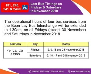 Extension of Operating Hours for Selected Boon Lay Services during MRT Early Closure in November 2018