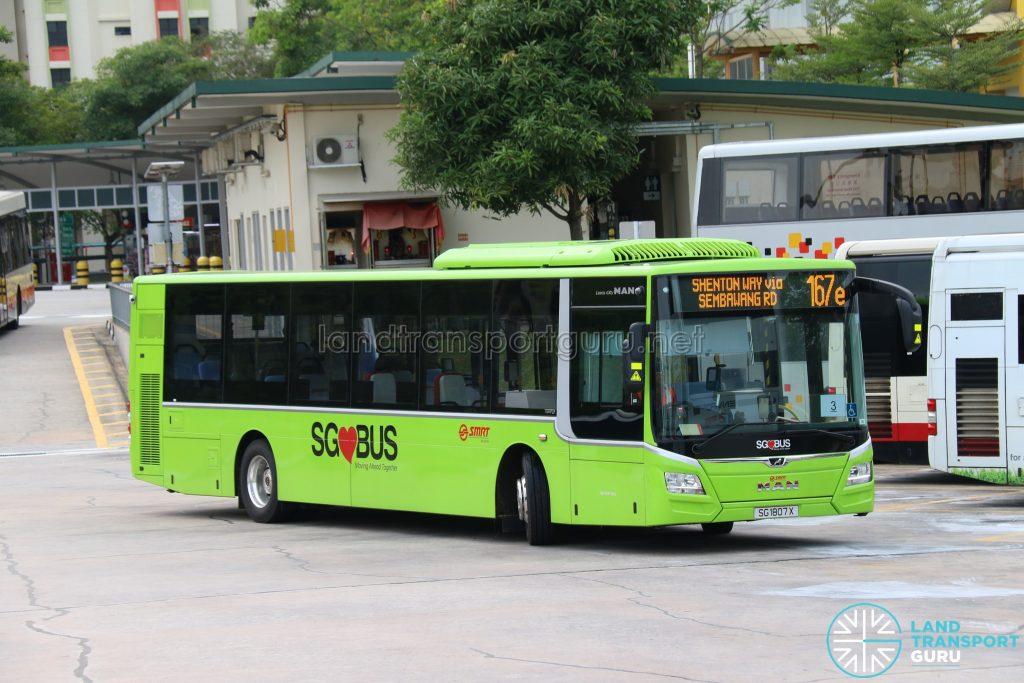 Express Bus 167e: SMRT Buses MAN A22 Euro 6 (SG1807X)