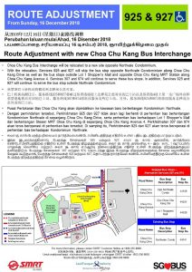 Route Amendment for Services 925 & 927 for Relocation of Choa Chu Kang Bus Interchange