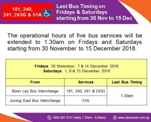 Extension of Operating Hours for selected SBS Transit Bus Services during MRT Early Closure in November / December 2018
