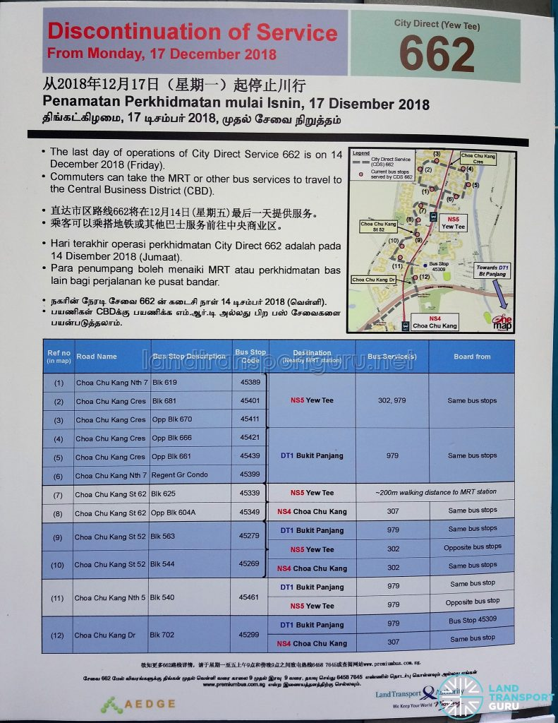 Discontinuation of City Direct Bus Service 662 Poster