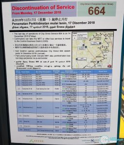 Discontinuation of City Direct Bus Service 664 Poster