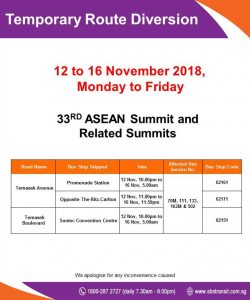SBS Transit Diversion Poster for 33rd ASEAN Summit and Related Summits