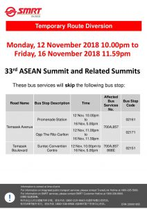 SMRT Buses Diversion Poster for 33rd ASEAN Summit and Related Summits