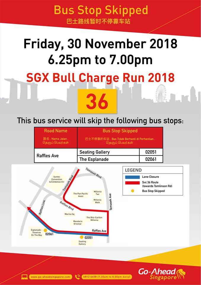 Go-Ahead Singapore Poster for SGX Bull Charge Run 2018