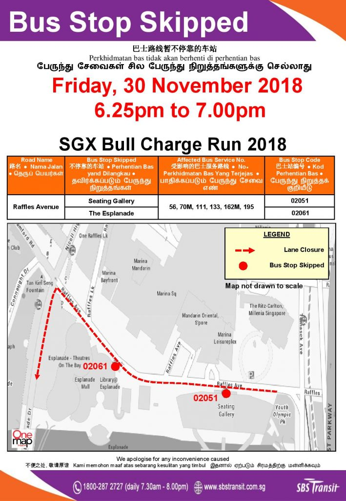 SBS Transit Poster for SGX Bull Charge Run 2018