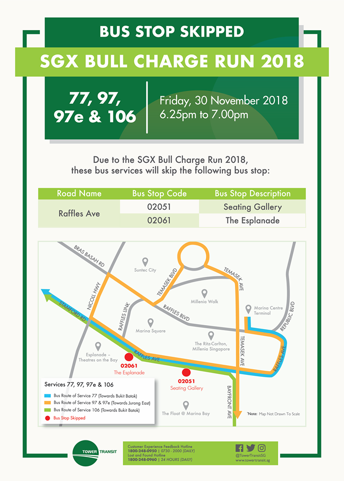 Tower Transit Poster for SGX Bull Charge Run 2018