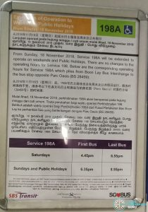 SBS Transit Poster for Short Trip Service 198A Extension of Operating to Weekends / Public Holidays