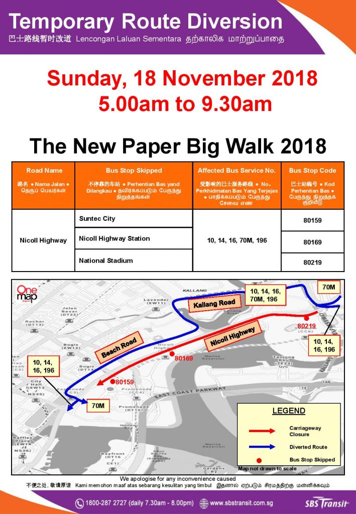 SBS Transit Poster for The New Paper Big Walk 2018