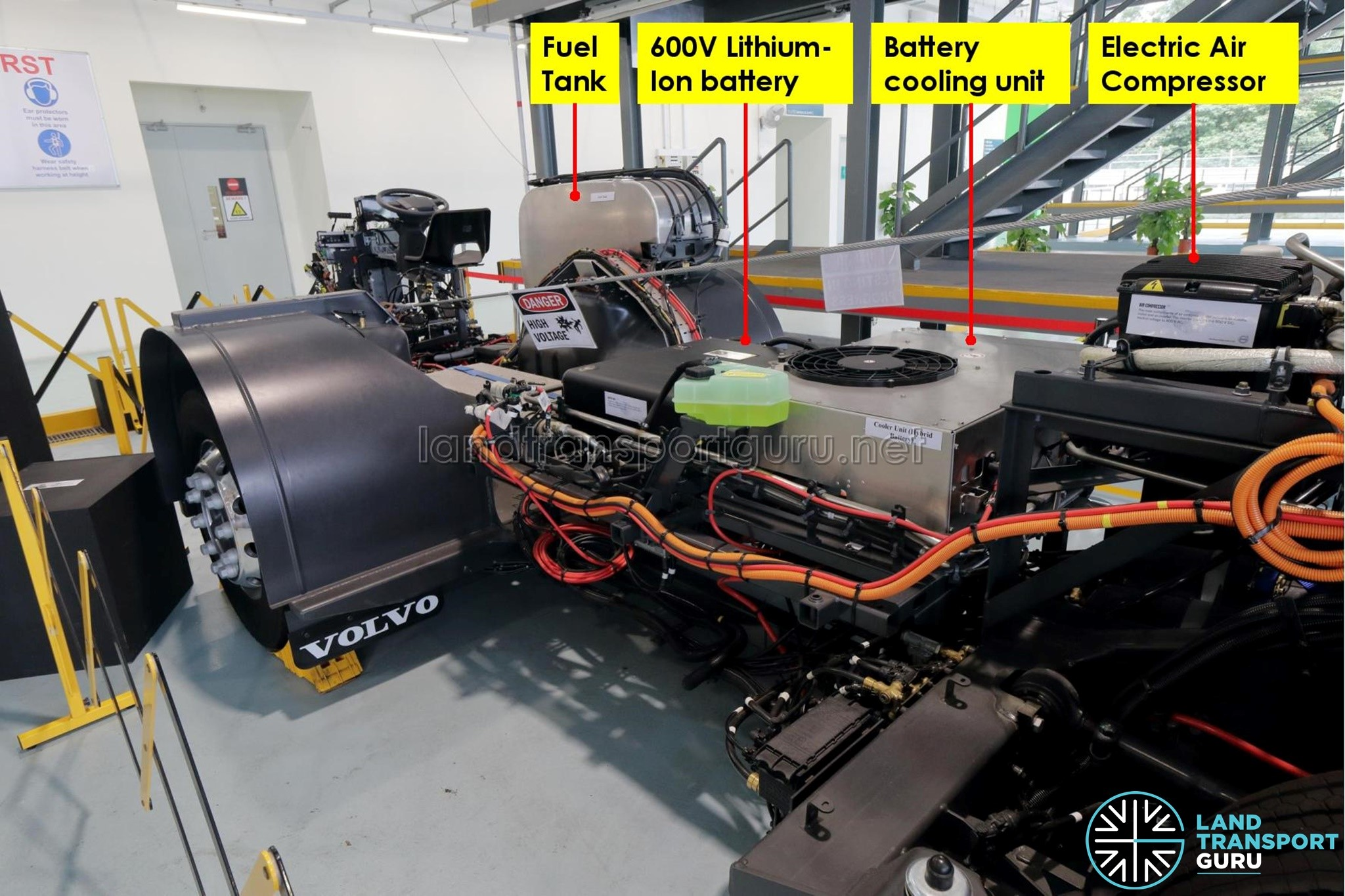Volvo B5LH Chassis – Roof-mounted air compressor – Land