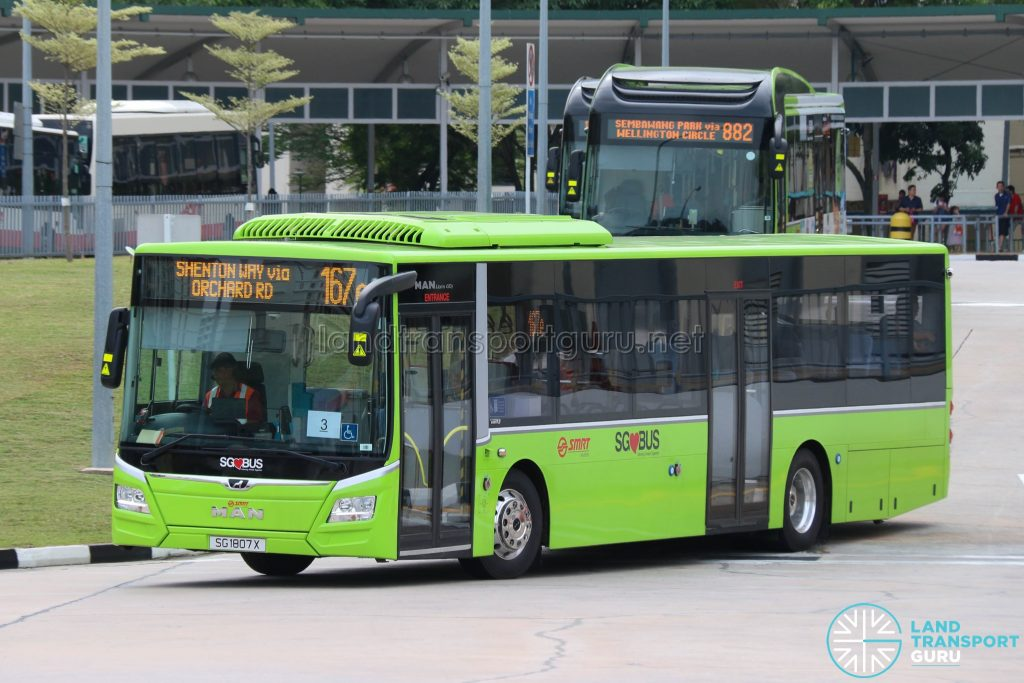 Express Bus 167e: SMRT MAN Lion's City A22 (SG1807X)
