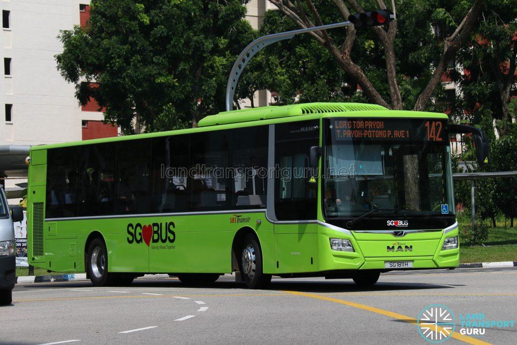 Bus 142 - SBS Transit MAN A22 Euro 6 (SG1811H)