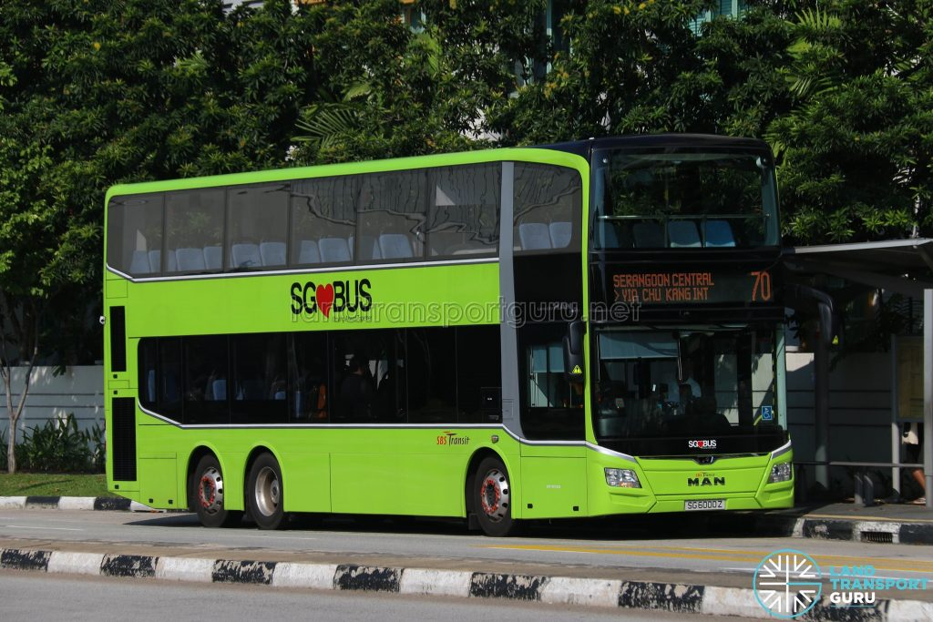 Bus 70 - SBS Transit MAN A95 Euro 6 (SG6000Z)