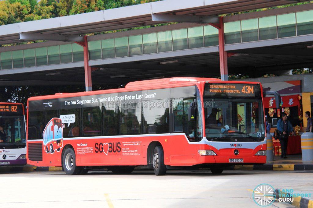 Bus 43M - SBS Transit Mercedes-Benz Citaro (SBS6500K) Bright Red Livery