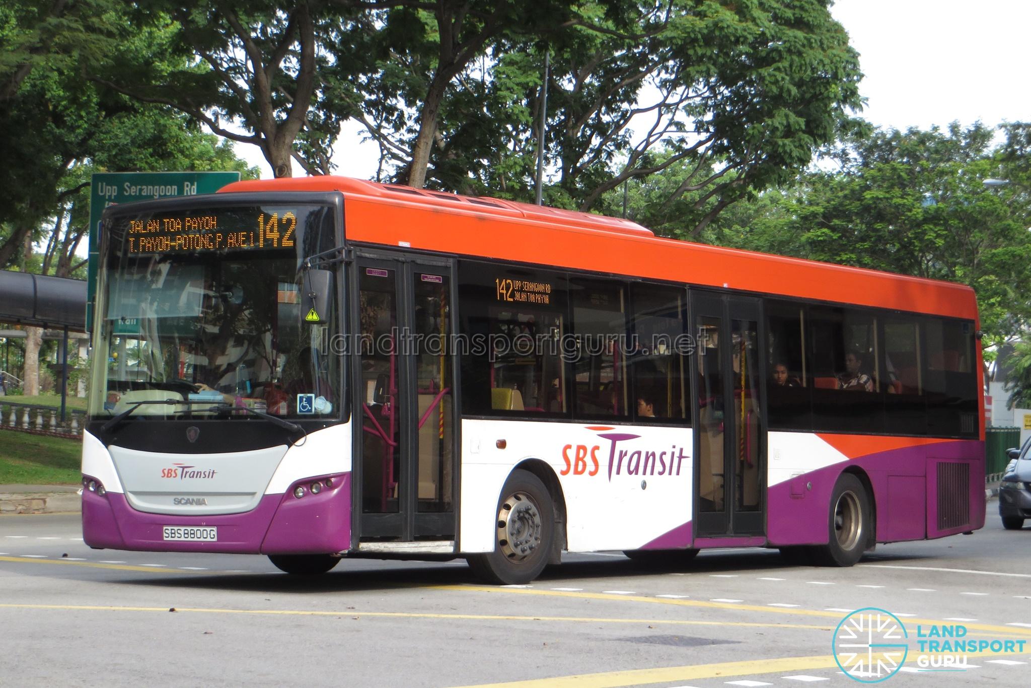 Service 142 - SBS Transit Scania K230UB Euro V (SBS8800G)