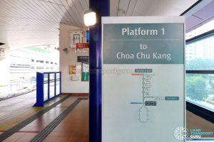 Platform 1 at Bukit Panjang LRT Station (Service A, B & C)