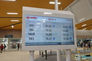 New Choa Chu Kang Bus Interchange - Bus Arrival Display Screen