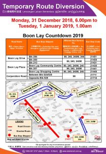 SBS Transit Bus Diversion Poster for Boon Lay Countdown 2019